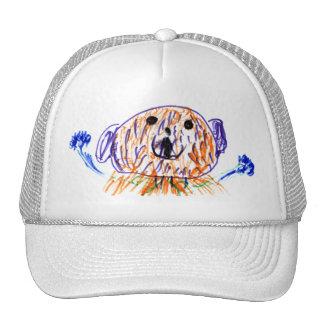 Cute fuzzy teddy bear drawn by a 5 year old girl trucker hat