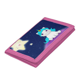 Cute Galactic Unicorn Trifold Wallet