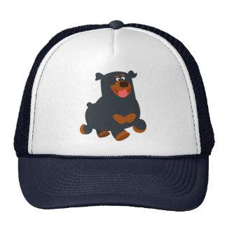 Cute Gamboling Cartoon Rottweiler Hat