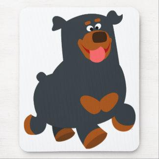 Cute Gamboling Cartoon Rottweiler Mousepad