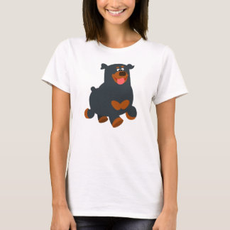 Cute Gamboling Cartoon Rottweiler Women T-Shirt
