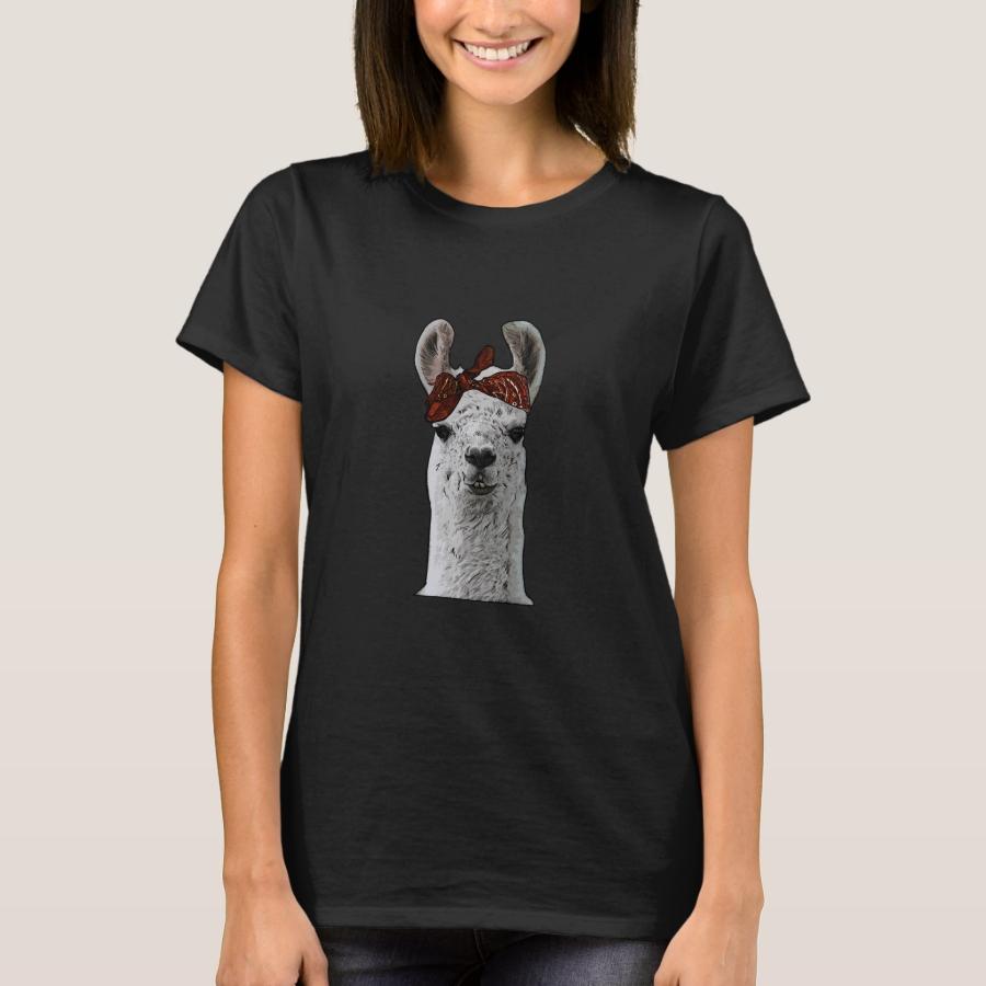 Cute Gangster Llama With Thug Bandana T-Shirt - Best Selling Long-Sleeve Street Fashion Shirt Designs