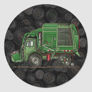 Cute Garbage Truck Trash Truck Classic Round Sticker