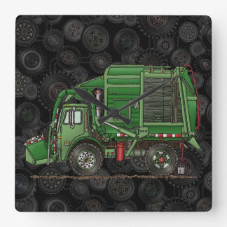 Cute Garbage Truck Trash Truck Square Wallclock