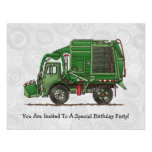 Cute Garbage Truck Trash Truck Custom Invitation