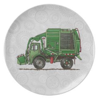 Cute Garbage Truck Trash Truck Dinner Plate