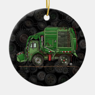 Cute Garbage Truck Trash Truck Double-Sided Ceramic Round Christmas Ornament