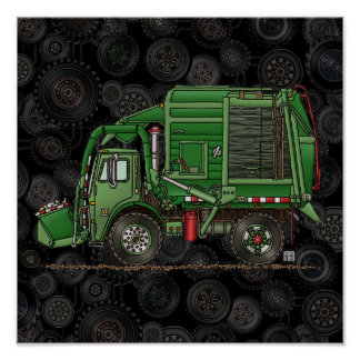 Cute Garbage Truck Trash Truck Poster