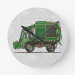 Cute Garbage Truck Trash Truck Round Wall Clock