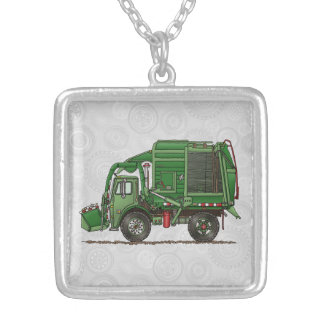 Cute Garbage Truck Trash Truck Silver Plated Necklace