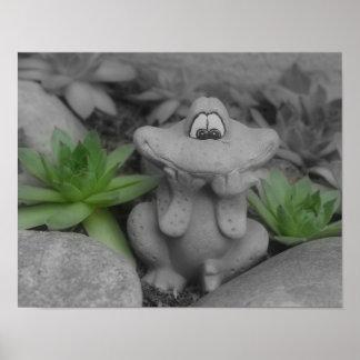 Cute Garden Frog BW Partial Color Poster