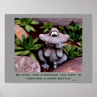 Cute Garden Frog Kindness Inspirational Poster