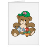 Cute Gardener Bear and Tulip Greeting Card