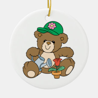 Cute Gardener Bear and Tulip Double-Sided Ceramic Round Christmas Ornament