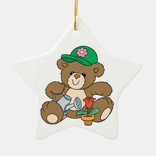 Cute Gardener Bear and Tulip Double-Sided Star Ceramic Christmas Ornament