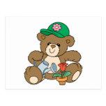 Cute Gardener Bear and Tulip Postcard