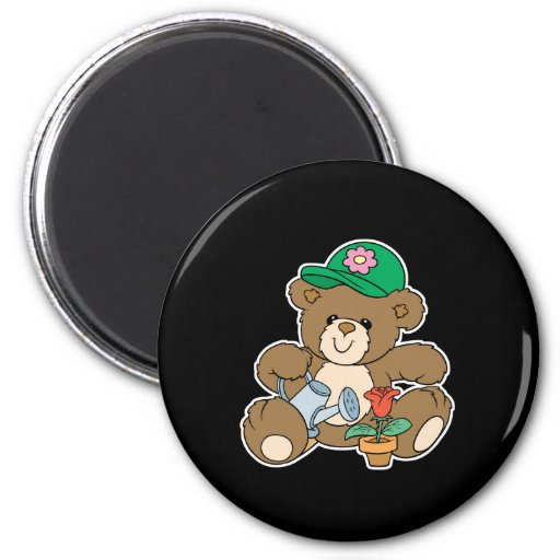 Cute Gardener Bear and Tulip Refrigerator Magnets