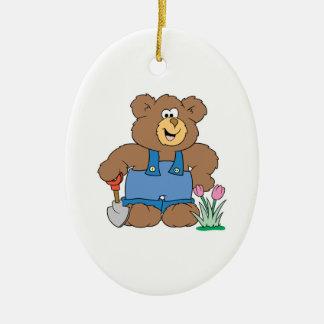 Cute Gardening Bear Double-Sided Oval Ceramic Christmas Ornament
