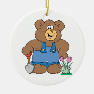 Cute Gardening Bear Double-Sided Ceramic Round Christmas Ornament