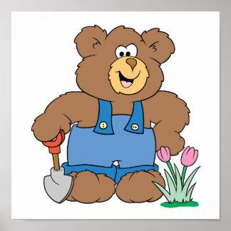 Cute Gardening Bear Poster