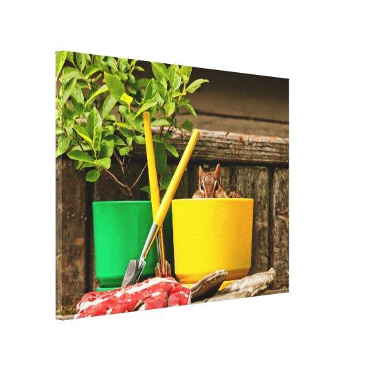 Cute Gardening Chipmunk Canvas Print