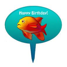 Cute Garibaldi Damselfish Cartoon Cake Topper