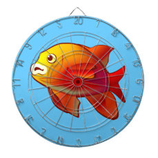 Cute Garibaldi Fish Cartoon Dartboard With Darts