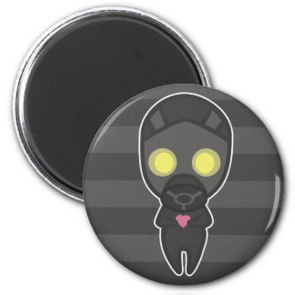 Cute Gas Mask Guy with Heart 2 Inch Round Magnet