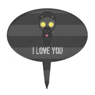 Cute Gas Mask Guy with Heart Cake Topper