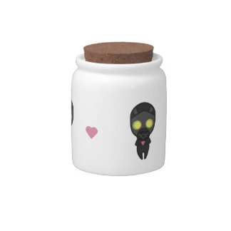 Cute Gas Mask Guy with Heart Candy Jar