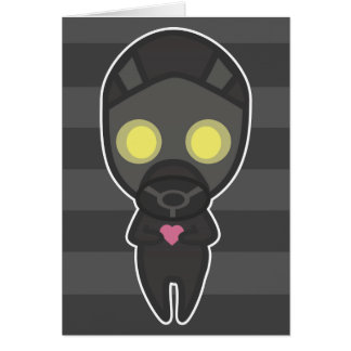 Cute Gas Mask Guy with Heart Card
