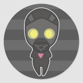 Cute Gas Mask Guy with Heart Classic Round Sticker