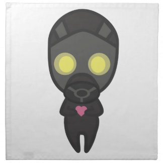 Cute Gas Mask Guy with Heart Cloth Napkin