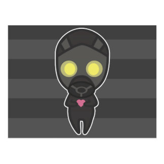 Cute Gas Mask Guy with Heart Postcard