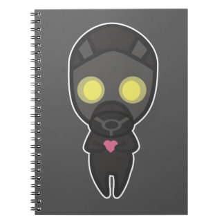Cute Gas Mask Guy with Heart Spiral Notebook