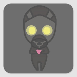 Cute Gas Mask Guy with Heart Square Sticker