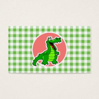 Cute Gator; Green Gingham Business Card