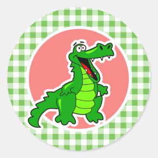 Cute Gator; Green Gingham Classic Round Sticker