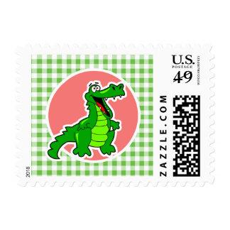Cute Gator; Green Gingham Postage
