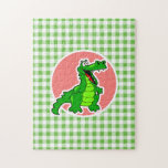 Cute Gator; Green Gingham Puzzle