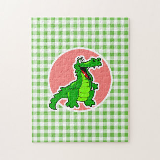 Cute Gator; Green Gingham Jigsaw Puzzles