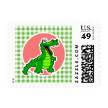 Cute Gator; Green Gingham Stamps
