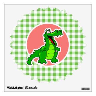Cute Gator; Green Gingham Wall Sticker