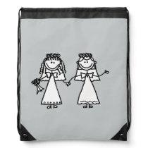 Cute Gay Brides Wedding Cartoon Drawstring Bag