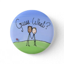 Cute Gay Couple Guess What Pinback Buttons