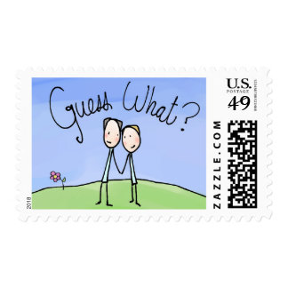Cute Gay Couple Guess What Stamps