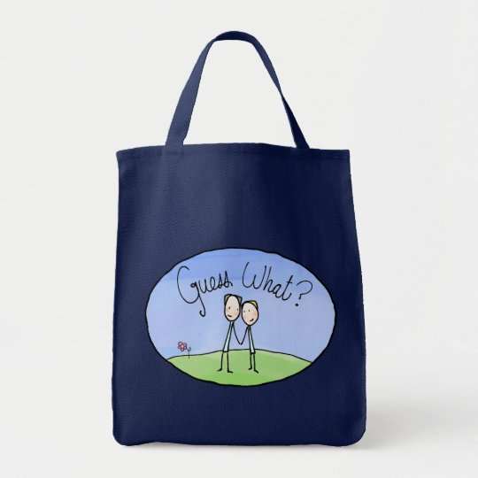 Cute Gay Couple Guess What Tote Bag