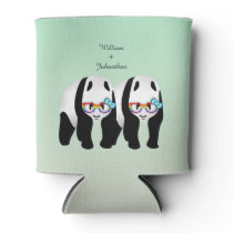 Cute Gay Pandas Rainbow Glasses Wedding Favor Can Cooler