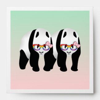 Cute Gay Pandas Rainbow Wearing Glasses Envelope