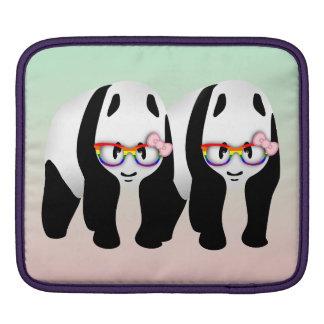 Cute Gay Pandas Rainbow Wearing Glasses iPad Sleeve